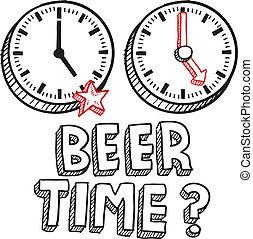 schizzo, lavoro, fine, birra, tempo