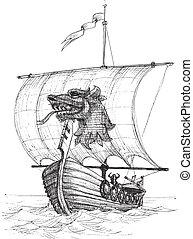 schizzo, lungo, barca, drakkar