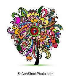 schizzo, magia, albero, disegno, floreale, tuo