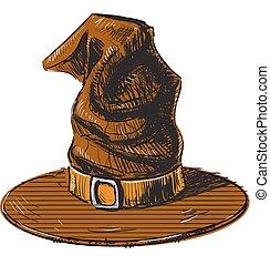 schizzo, magia, colorare, strega halloween, cappello