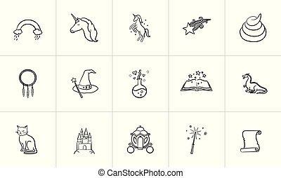 schizzo, magia, fairytale, tema, set., icona