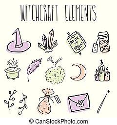 schizzo, magia, stregoneria, vendemmia, halloween, retro, scarabocchiare