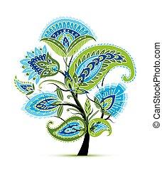 schizzo, magia, vendemmia, albero, disegno, floreale, tuo
