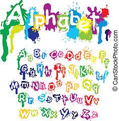 schizzo, -, mano, colori, lettere, inchiostro, font., vernice, splatter, disegnato, fatto, alfabeto, acqua