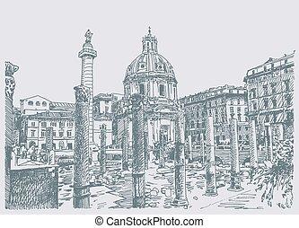 schizzo, mano, disegno, di, roma, italia, famoso, cityscape