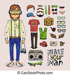 schizzo, maschio, hipster, set