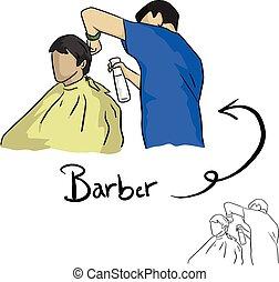 schizzo, maschio, parrucchiere, scarabocchiare, linee, isolato, illustrazione, cliente, taglio capelli, vettore, sfondo nero, disegnato, bianco, mano