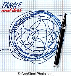 schizzo, metaphor., astratto, forma., illustrazione, circle., scrawl, vector., groviglio, scarabocchio, disegno