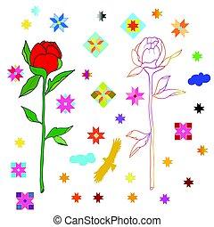 schizzo, modelli, fondo., etnico, fiori bianchi