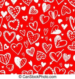 schizzo, modello, seamless, valentina, disegno, cuori, disegno, tuo