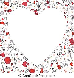 schizzo, modello, valentina, disegno, cuori, disegno, tuo
