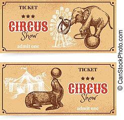 schizzo, mostra, vendemmia, set., circo, mano, vettore, disegnato, biglietto