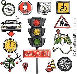 schizzo, navigazione, icone
