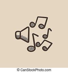 schizzo, note musica, icon., altoparlanti