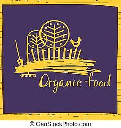 schizzo, organico, agricoltura, horticulture., l, cibo., logotipo, rurale