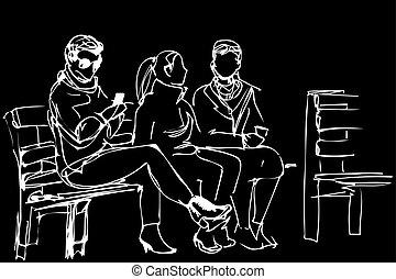 schizzo, panca, amici, seduta