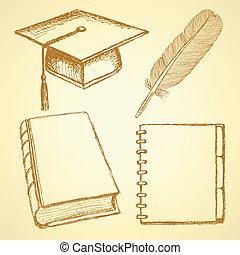 schizzo, penna, quaderno, berretto, libro, graduazione