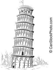 schizzo, punto di riferimento, torre, pisa, italia