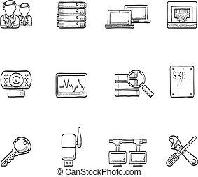 schizzo, rete, icone, -, computer, più