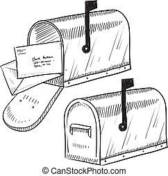 schizzo, retro, cassetta postale