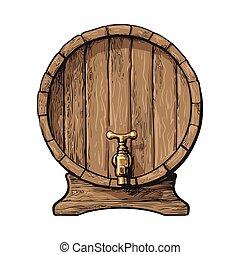 schizzo, rubinetto, legno, stile, fronte, barile, vista