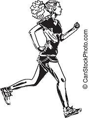 schizzo, runner., illustrazione, vettore, femmina, maratona