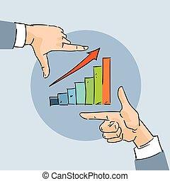 schizzo, sbarra, affari, grafico, grafico, freccia, finanziario, mano