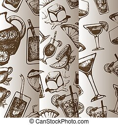 schizzo, sbarra, vintagebeverages., modello, alcolico, menu., mano, cocktail, vettore, coctail, ingredienti, fondo, inchiostro, disegnato, bibite, o, ristorante