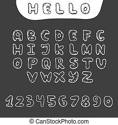 schizzo, scarabocchiare, stile, mano, vettore, disegnato, font