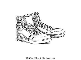 schizzo, scarpe