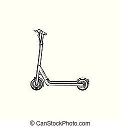 schizzo, scooter, mano, disegnato, icon., calcio