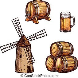 schizzo, set, bevanda, isolato, vetro birra, barile