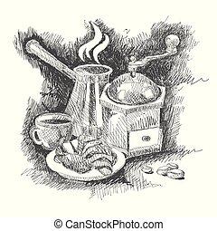 schizzo, set, caffè
