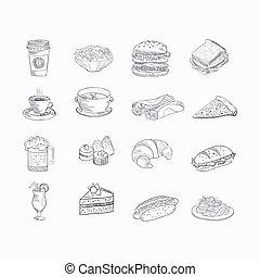schizzo, set, cibo, bevanda, mano, artistico, disegnato