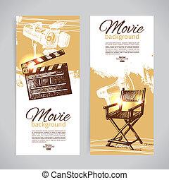 schizzo, set, cinema, mano, illustrazioni, disegnato, bandiere
