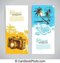 schizzo, set, colorito, viaggiare, mano, tropicale, schizzo, backgrounds., illustrazioni, disegnato, bandiere, vacanza, bandiera