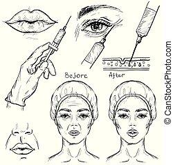schizzo, set., cosmetico, botox, procedura, iniezione