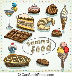 schizzo, set, deserti, cibo, mano, disegnato