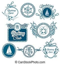 schizzo, set, emblemi, yachting