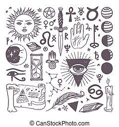 schizzo, set, esoterico, collezione, mano, simboli, vettore...