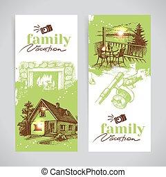 schizzo, set, famiglia, vendemmia, vacanza, mano, vettore, disegnato, bandiera