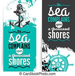 schizzo, set, grunge, viaggiare, nautico, tipografico, mano, banners., disegno, mare, textured, disegnato, design., illustrations.
