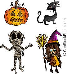 schizzo, set., halloween, stile, isolato, mostri, creature