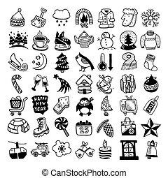 schizzo, set, inverno, icone, mano, disegno