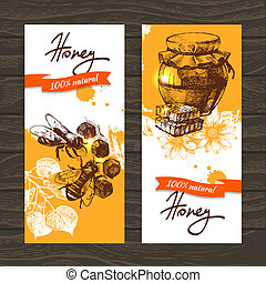 schizzo, set, mano, miele, illustrazioni, disegnato, bandiere