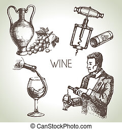 schizzo, set, mano, vettore, disegnato, vino