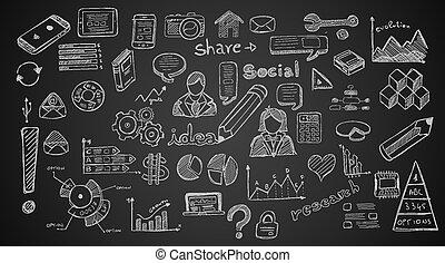 schizzo, set, media, infographics, elementi, sociale, doodles