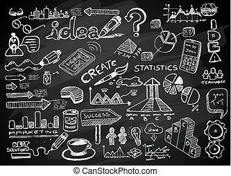 schizzo, set, media, sociale, isolato, elementi, infographics, doodles