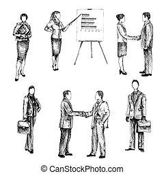 schizzo, set, persone affari
