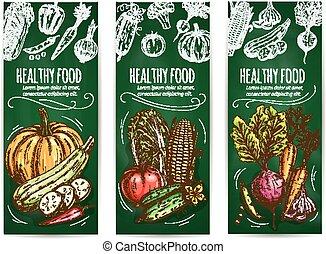 schizzo, set, sano, gesso, cibo, verdura, bandiera